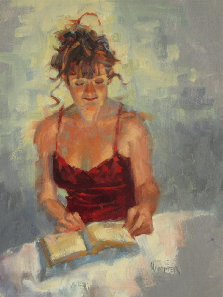 """Reading 14 x 11  oil"" original fine art by Claudia Hammer"