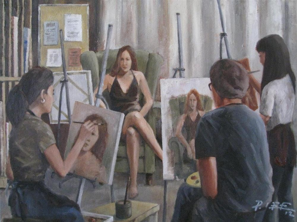 """""""A Painting Session"""" original fine art by Peter Lee"""