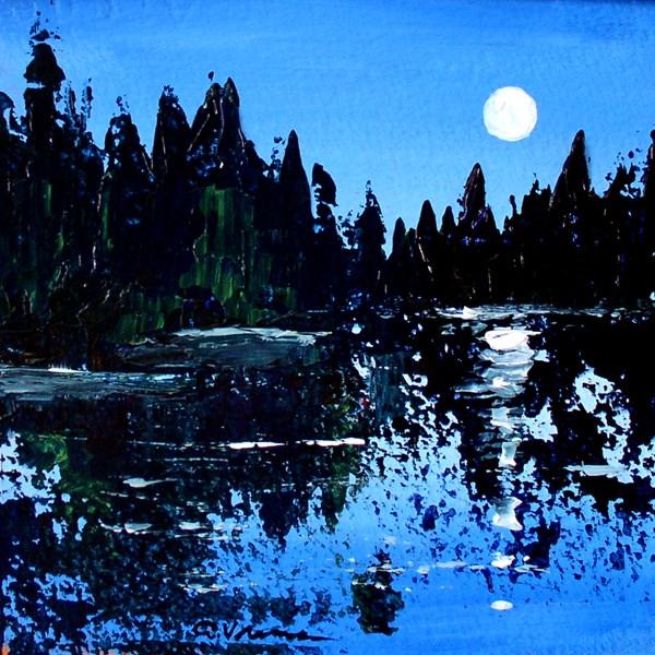 """""""Moonlit Pond"""" original fine art by Anna Vreman"""