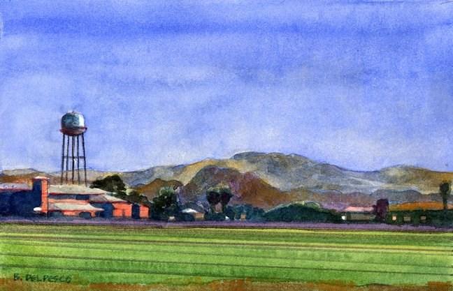 """Watercolor: Water Tower (5 gift books for artists)"" original fine art by Belinda Del Pesco"