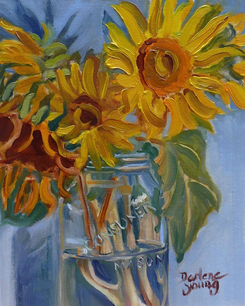 """997 Sunflowers in a Mason Jar, 8x10, oil on board"" original fine art by Darlene Young"