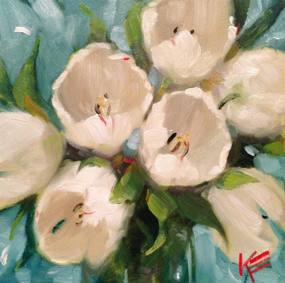 """White Tulips"" original fine art by Krista Eaton"