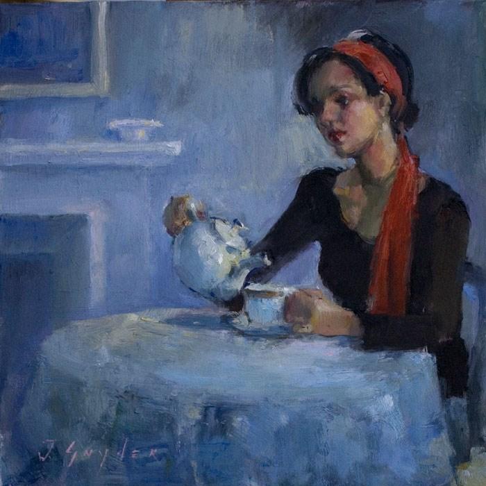 """One More Cup"" original fine art by Julie Snyder"