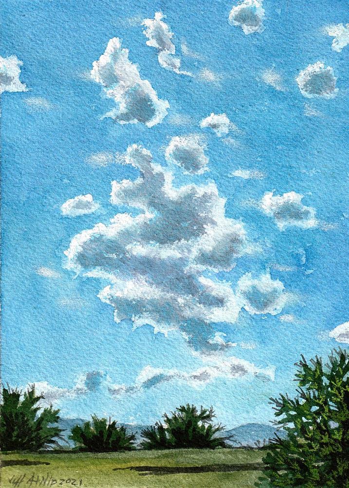 """Sunny Day Fluffy Clouds"" original fine art by Jeff Atnip"
