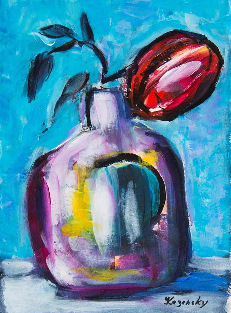 """Red Flower. Floral study #7"" original fine art by Yulia Kazansky"