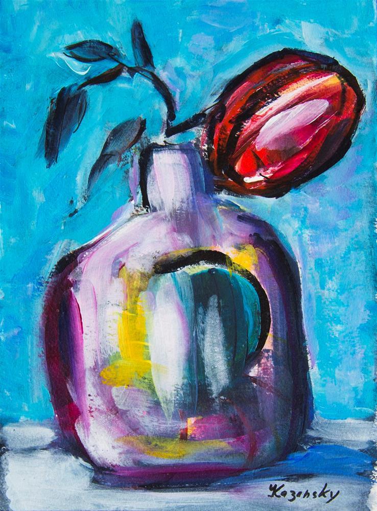 """""""Red Flower"""" original fine art by Yulia Kazansky"""