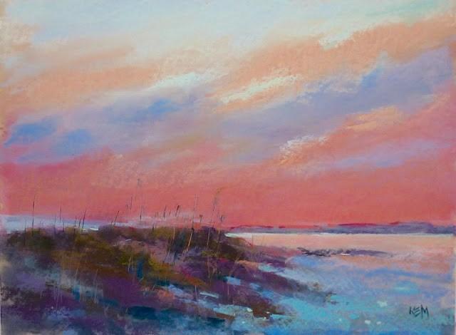 """My Favorite Tip for Painting Sunsets"" original fine art by Karen Margulis"