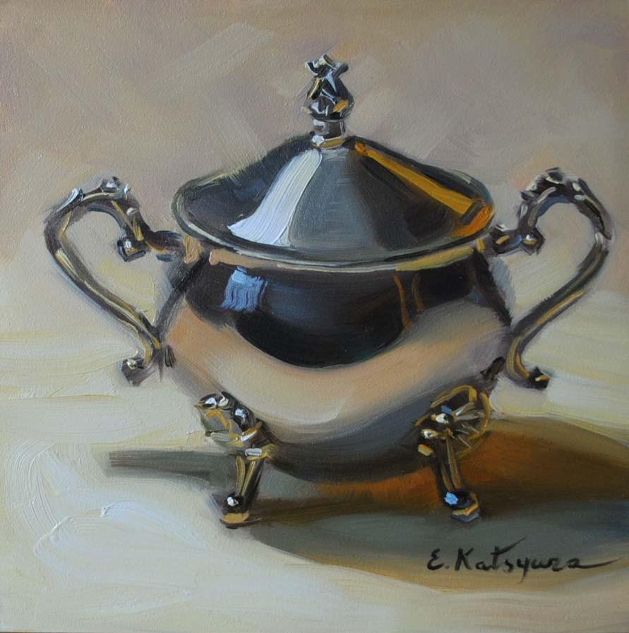 """Silver Bowl"" original fine art by Elena Katsyura"
