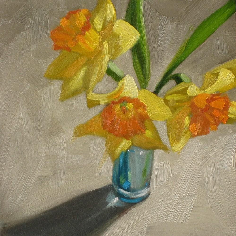 """""""Daffodils in triplicate  6x6  oil"""" original fine art by Claudia Hammer"""