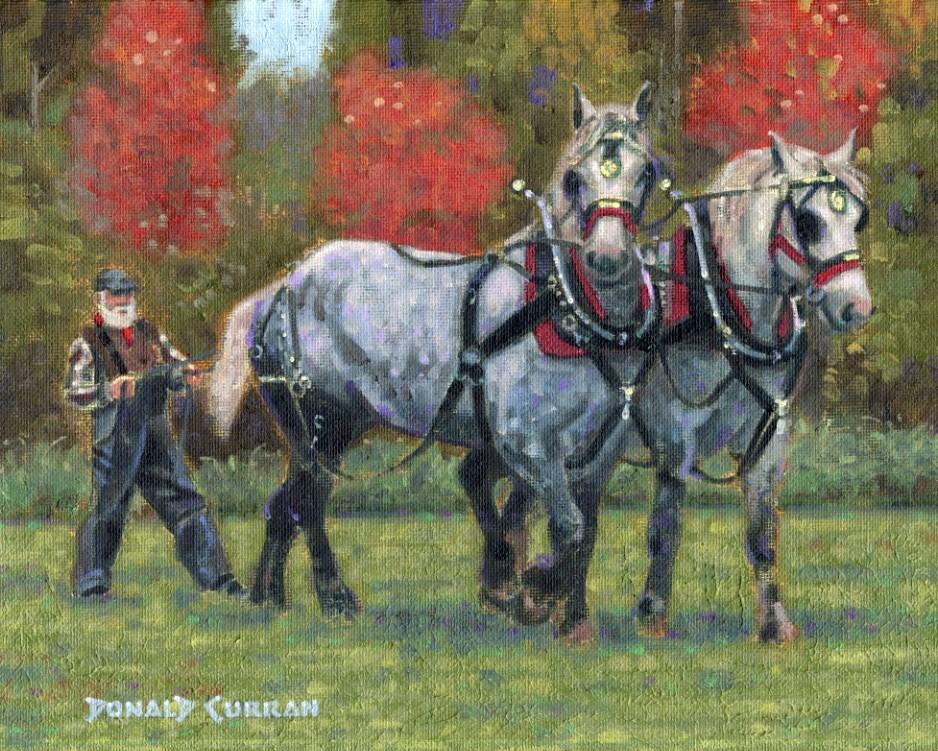"""""""Team of Horses"""" original fine art by Donald Curran"""