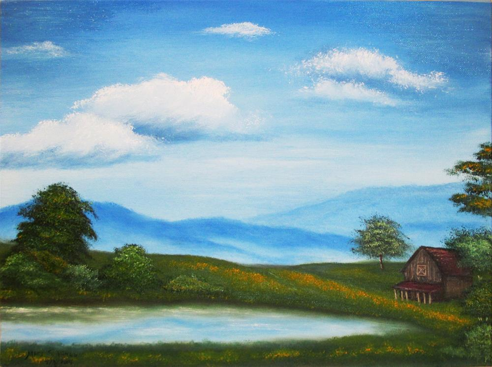"""""""Cabin by the Lake--01"""" original fine art by Mary Sylvia Hines"""