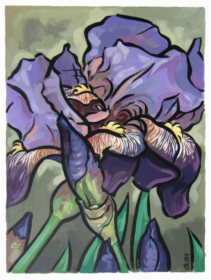 """Purple Iris 5"" original fine art by Roger Akesson"