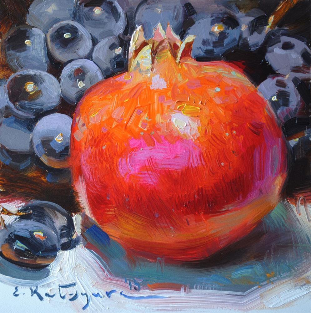 """Pomegranate and Grapes"" original fine art by Elena Katsyura"