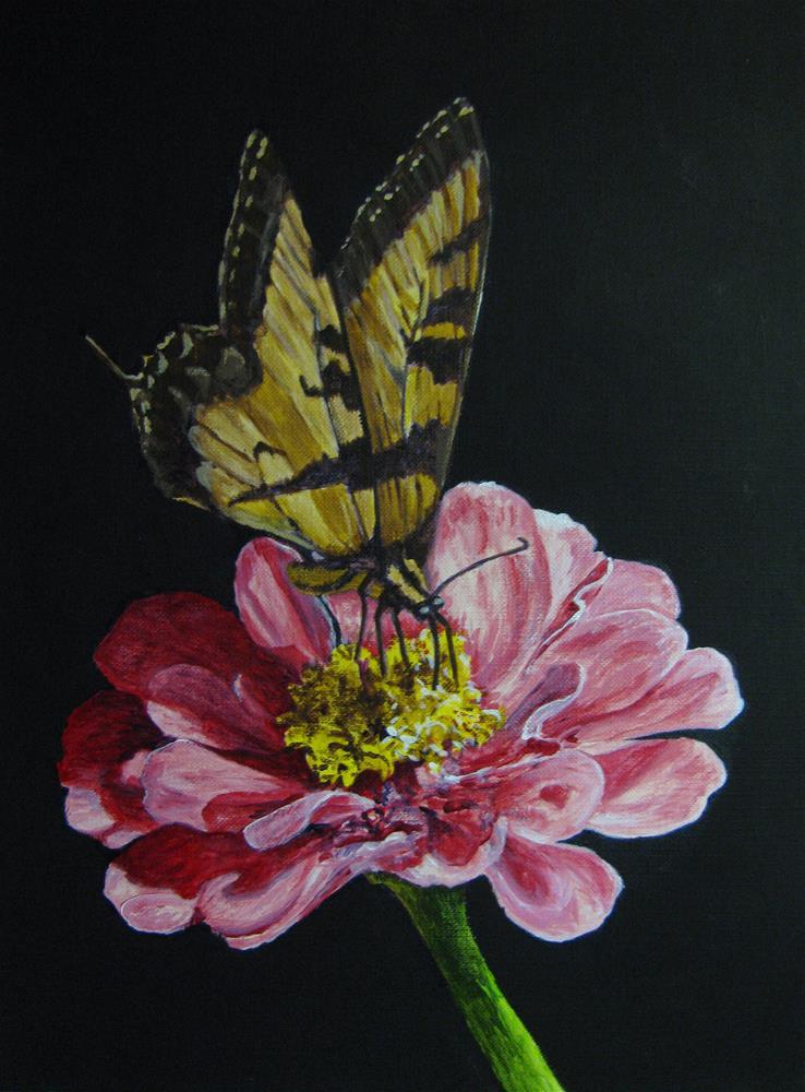 """Flower & Butterfly"" original fine art by Nan Johnson"