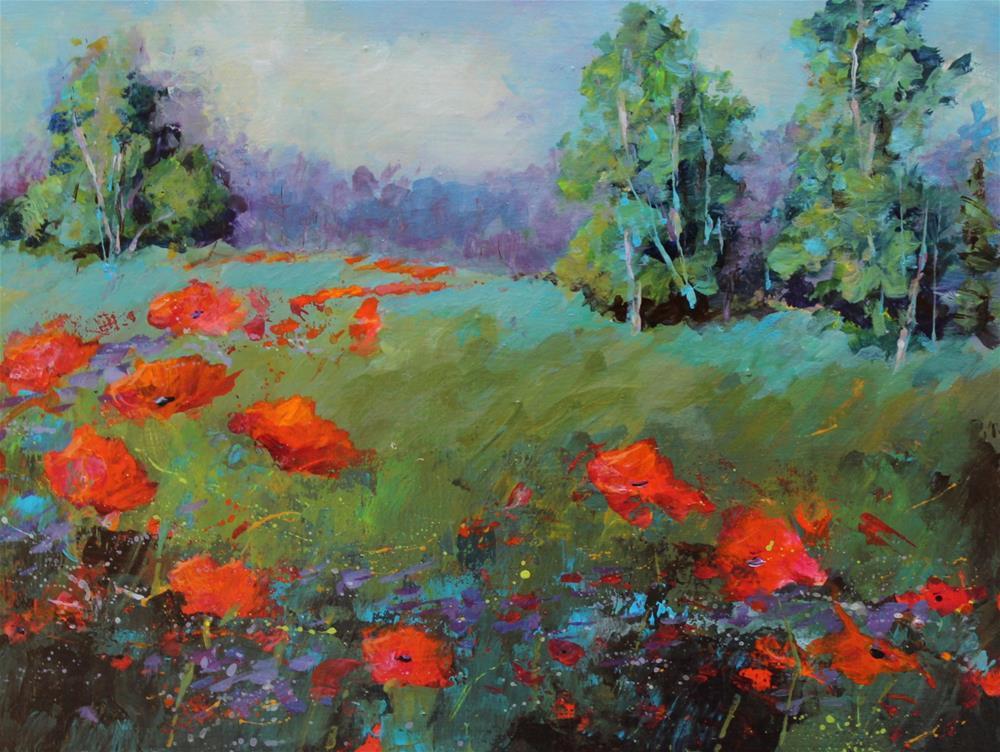 """Original Wildflower Floral Poppy Landscape Painting"" original fine art by Alice Harpel"