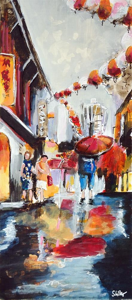 """""""2783 Rain in Chinatown"""" original fine art by Dietmar Stiller"""