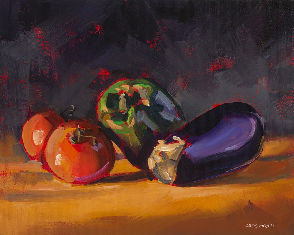 """""""Pepper Eggplant & Tomatoes"""" original fine art by Chris Breier"""