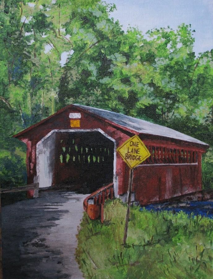 """""""One Lane Bridge"""" original fine art by Nan Johnson"""