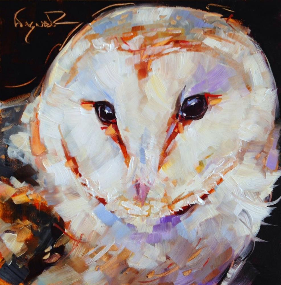 """""""ORIGINAL CONTEMPORARY BARN OWL PAINTING by OLGA WAGNER"""" original fine art by Olga Wagner"""