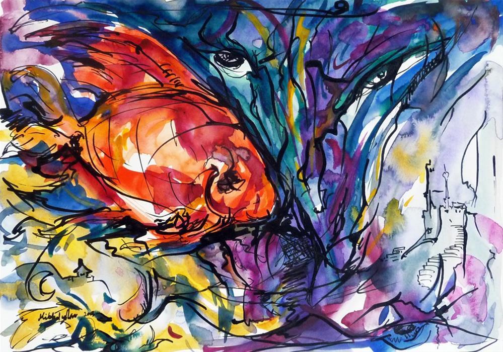 """""""Adventure of red fish"""" original fine art by Mikko Tyllinen"""