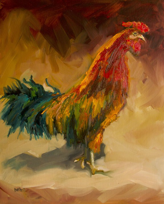 """ROOSTER ART OIL PAINTING OIL ON LINEN DIANE WHITEHEAD"" original fine art by Diane Whitehead"