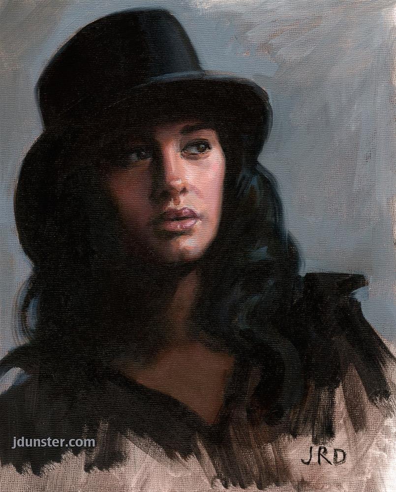 """""""Black Hat"""" original fine art by J. Dunster"""