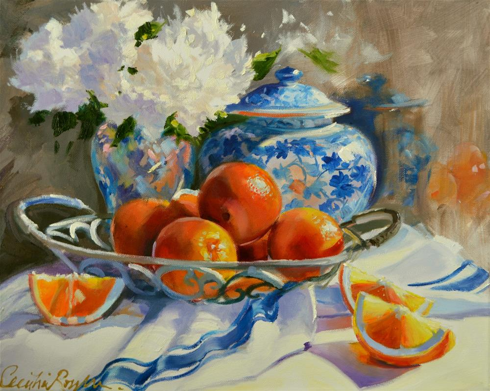 """ORANGES AND DELFT"" original fine art by Cecilia Rosslee"