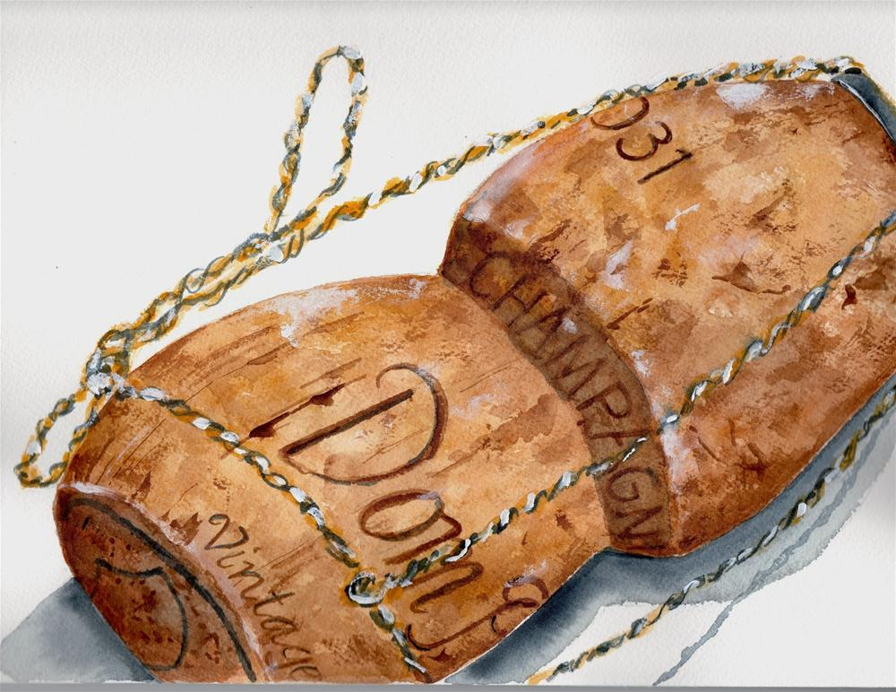 """Dom Perignon Cork"" original fine art by Sheryl Heatherly Hawkins"