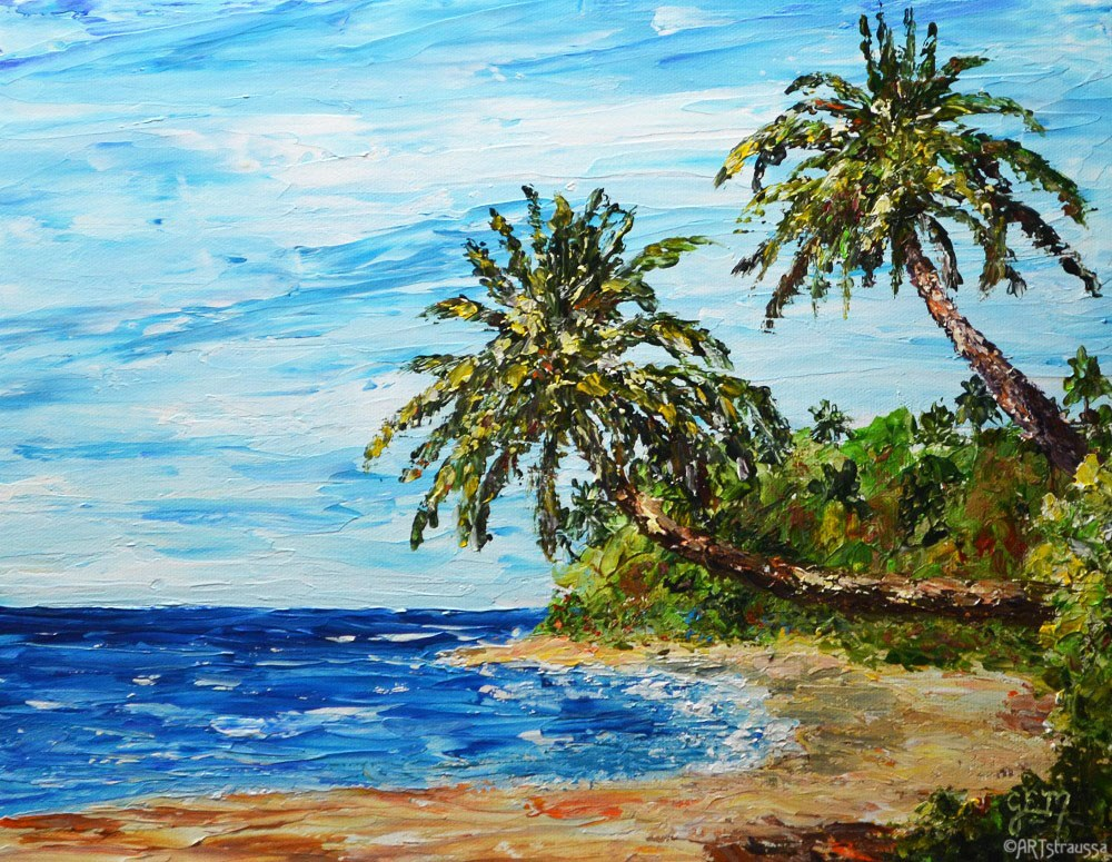 """Oahu Beach"" original fine art by Gloria Ester"