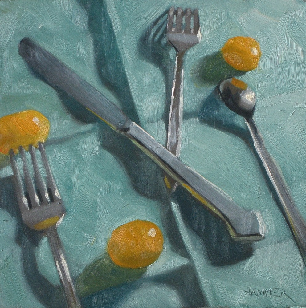 """""""Yummy golden tomatoes 6x6 oil"""" original fine art by Claudia Hammer"""