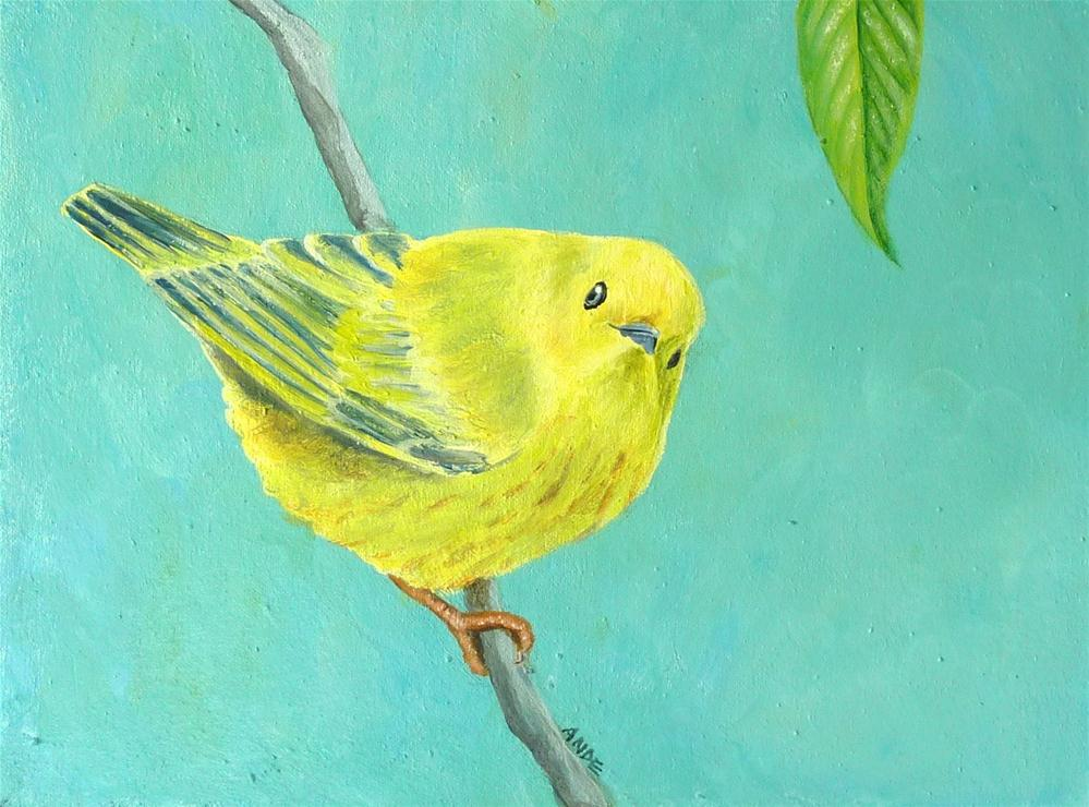 """""""Yellow Warbler"""" original fine art by Ande Hall"""