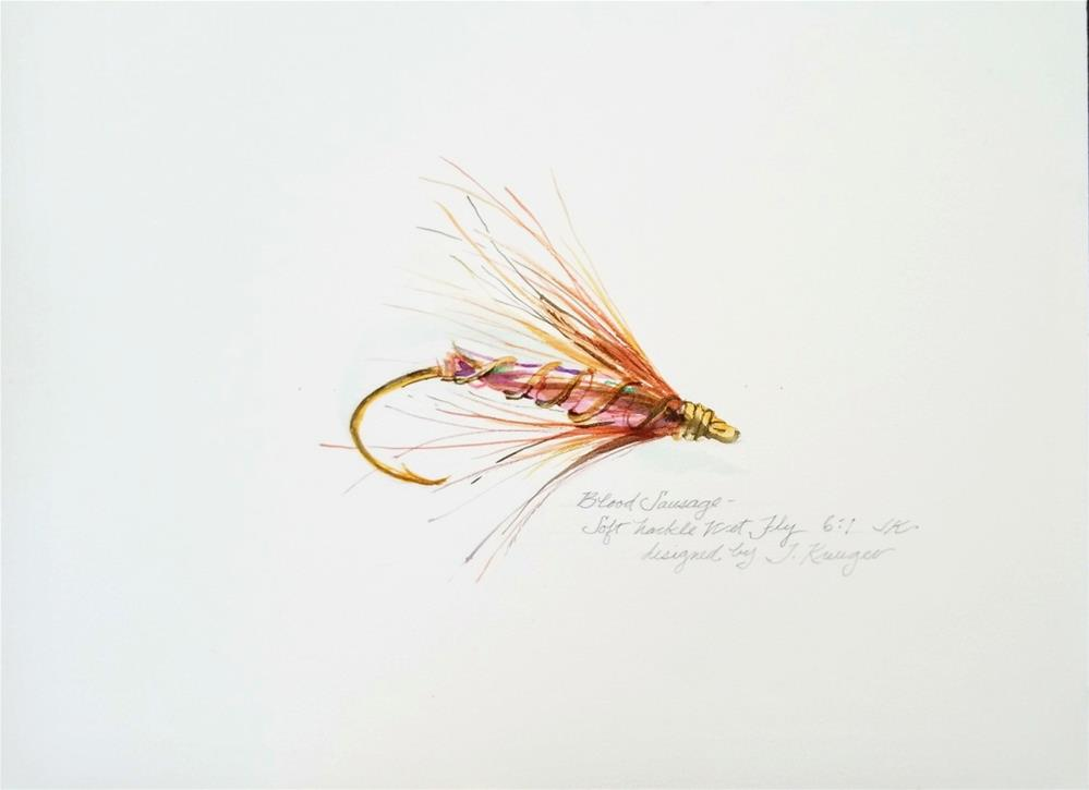 """Blood Sausage - Soft Hackle Wet Fly"" original fine art by Jean Krueger"