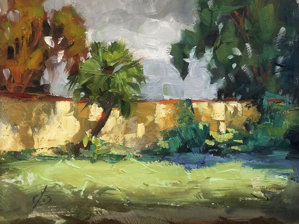 """A BACK CORNER OF MY YARD"" original fine art by Tom Brown"