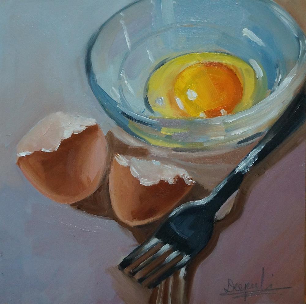 """Egg and Fork"" original fine art by Dipali Rabadiya"