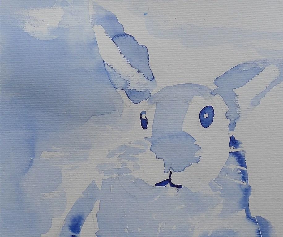 """Snow bunny"" original fine art by Ulrike Schmidt"