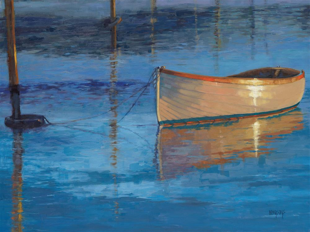 """Mooring in Light"" original fine art by Nancy Parsons"