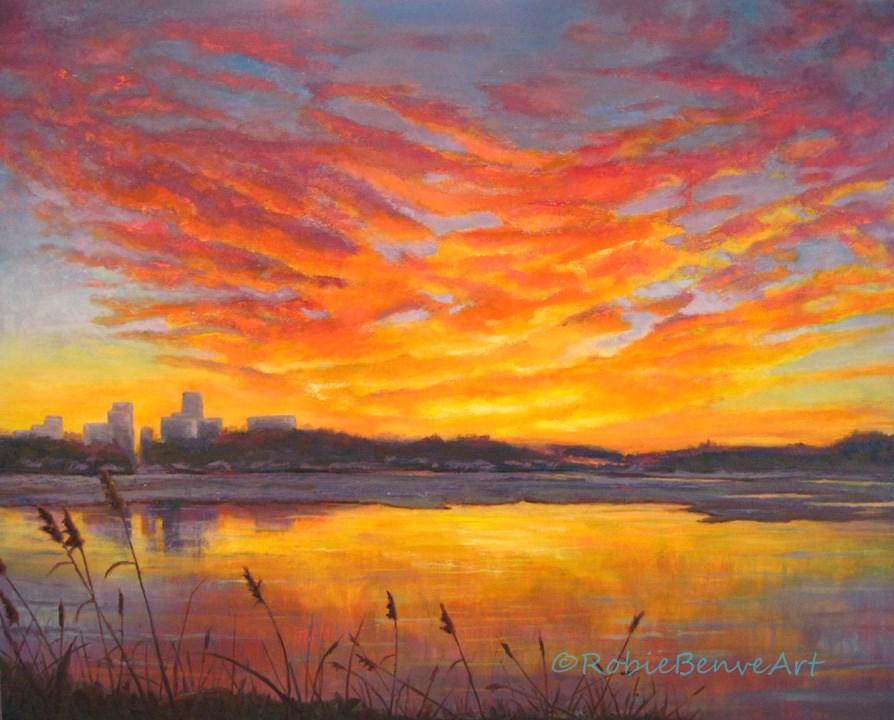 """Water and Fire"" original fine art by Robie Benve"