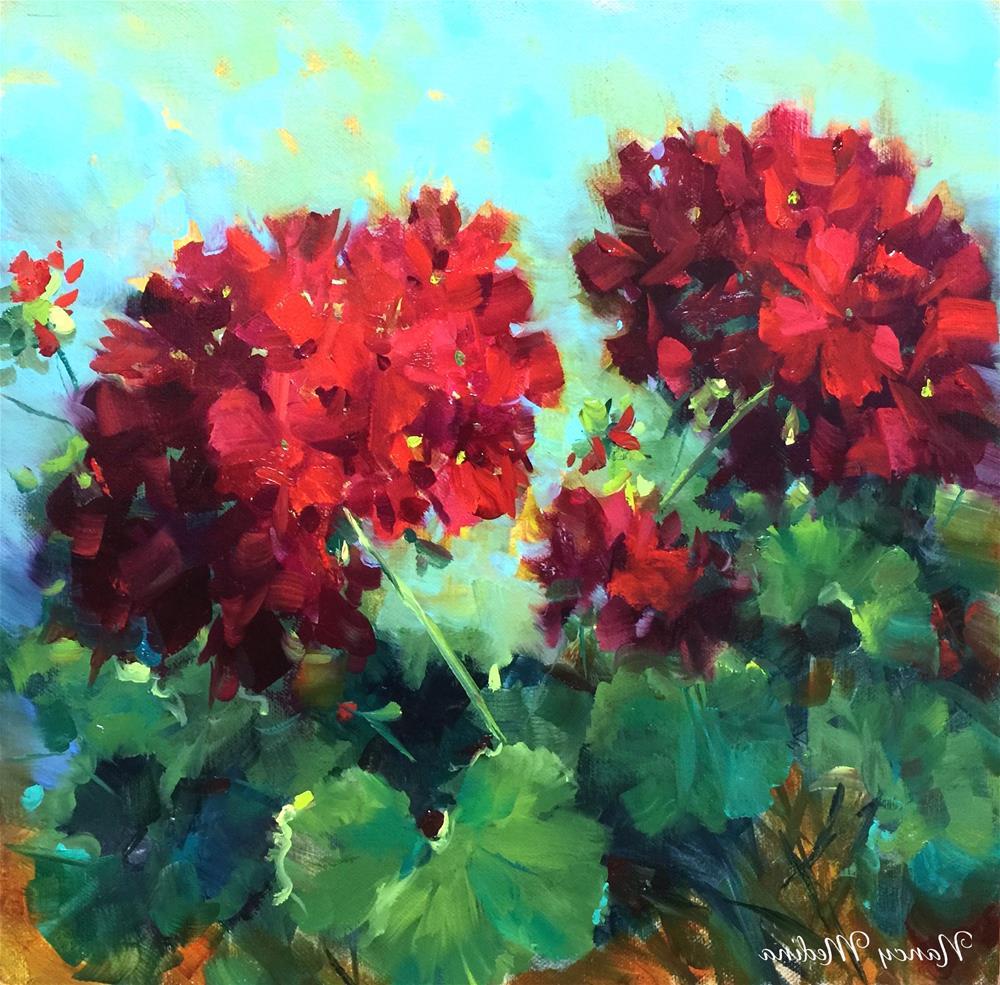 """Hearts in Harmony Geraniums"" original fine art by Nancy Medina"