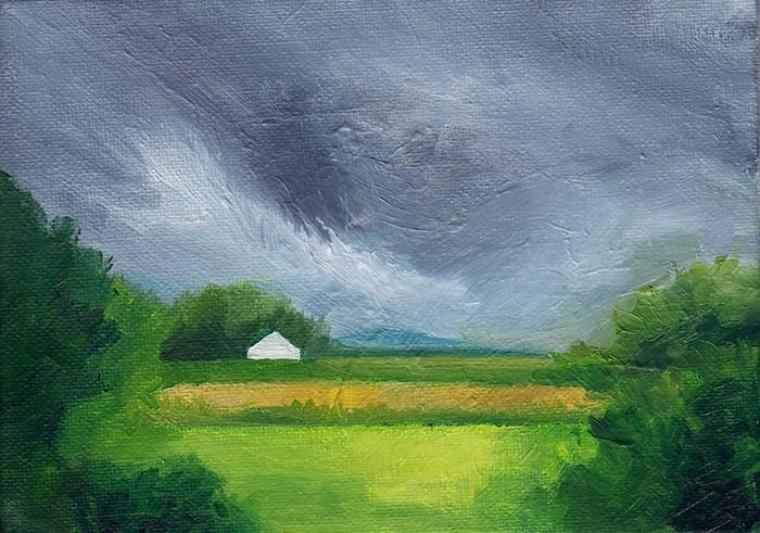 """White House Among Fields"" original fine art by J M Needham"