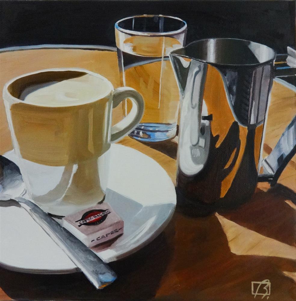 """""""Cafe Richard"""" original fine art by Andre Beaulieu"""