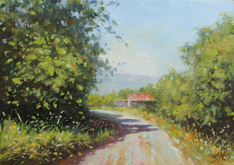 """Countryside roads of Aix en Provence"" original fine art by Nick Sarazan"