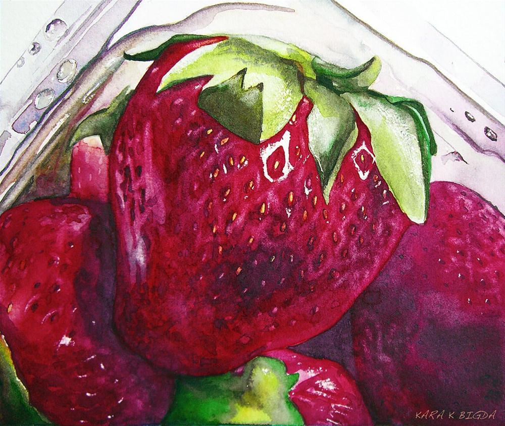 """Strawberry Study"" original fine art by Kara K. Bigda"