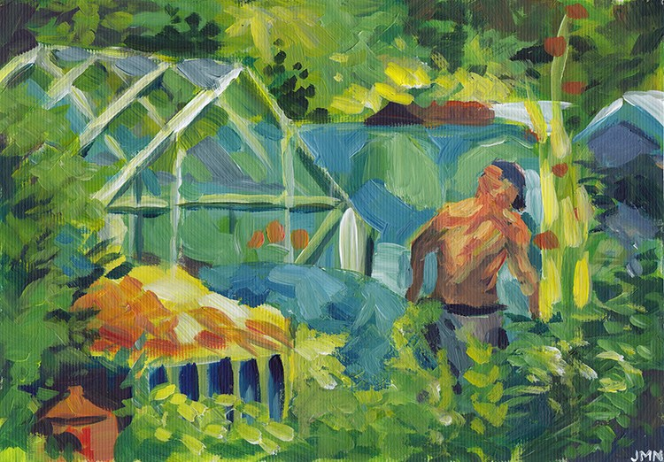 """At The Allotments"" original fine art by J M Needham"