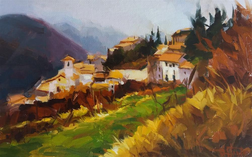 """Mountain village"" original fine art by Víctor Tristante"