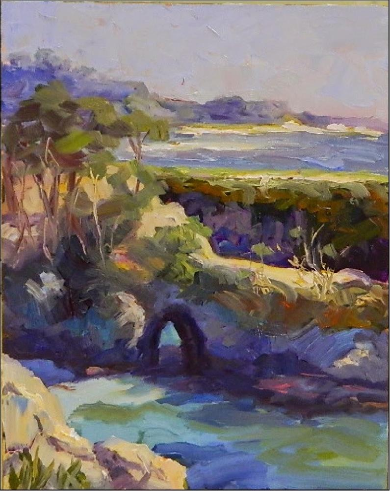 """Late afternoon, China Cove, 8x10, oil on panel, Maryanne Jacobsen art, Point Lobos, China Cove, Pl"" original fine art by Maryanne Jacobsen"