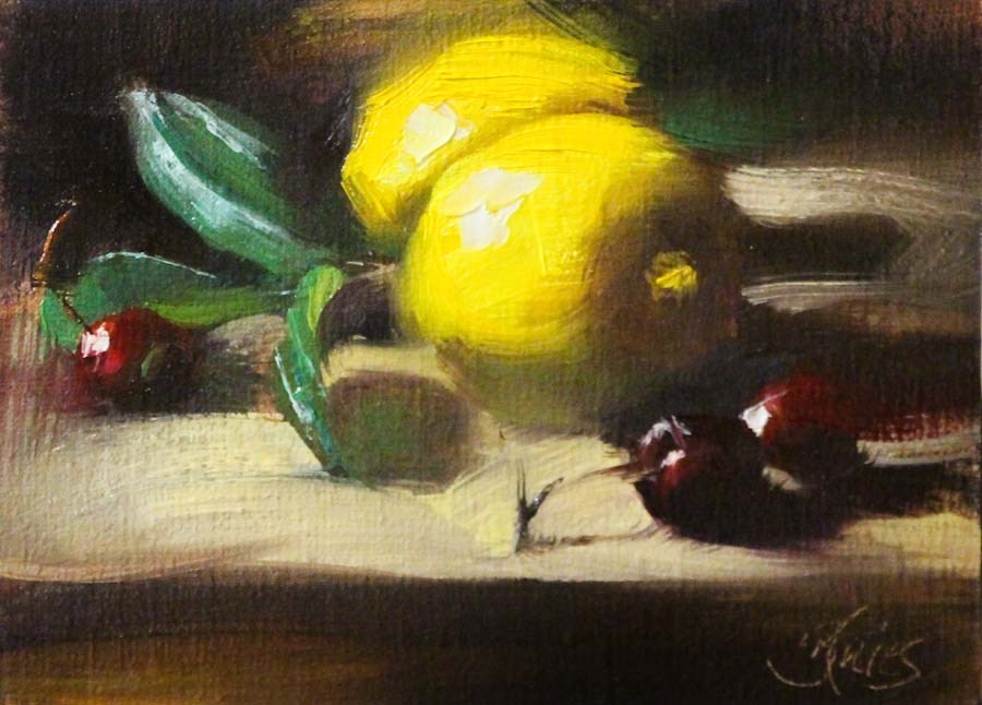 """Lemons and Cherries"" original fine art by Pamela Blaies"