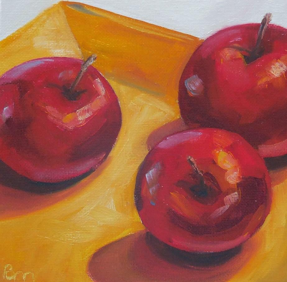 """Red Circles, Yellow Square"" original fine art by Beth Moreau"