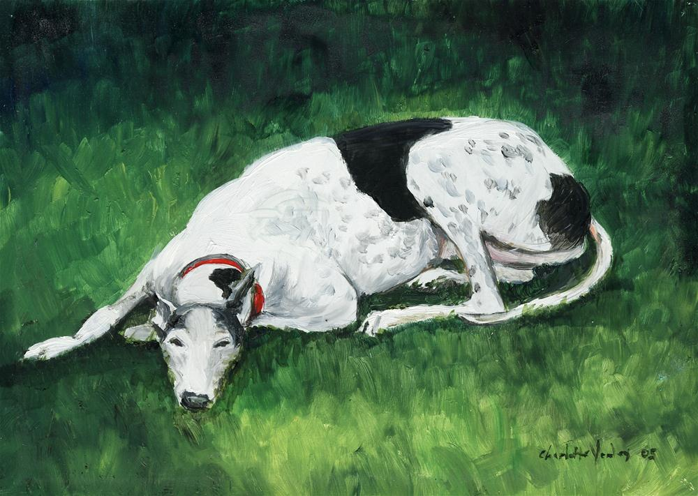 """""""Relaxed Greyhound"""" original fine art by Charlotte Yealey"""