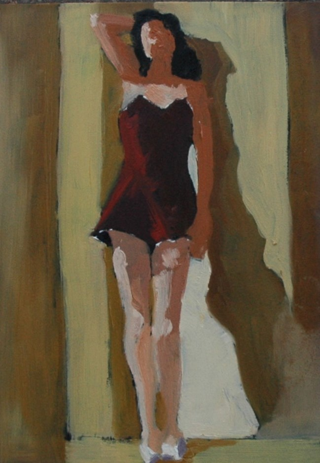"""VINTAGE SWIMSUIT"" original fine art by Linda Popple"