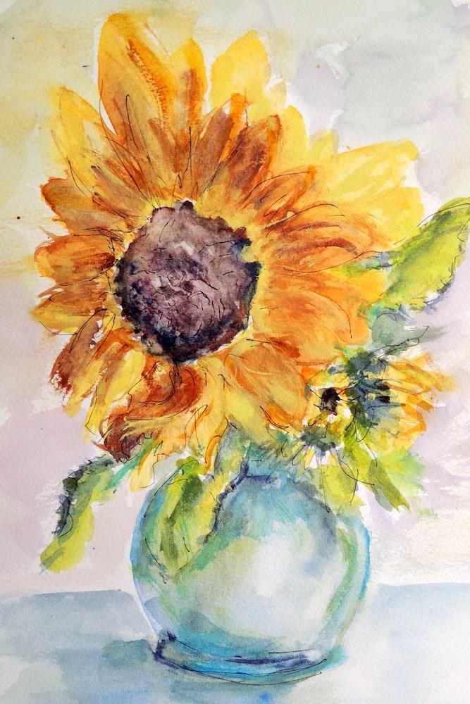 """""""Little Vase Big Flower"""" original fine art by Mary Schiros"""